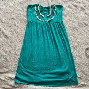Teal strapless summer dress Everly size small EUC